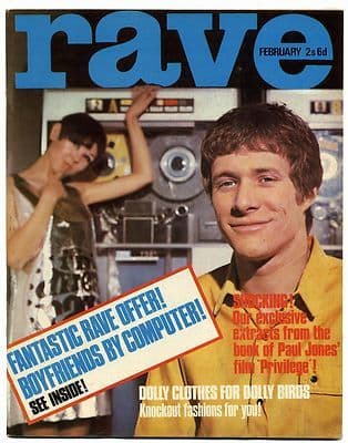 Rave Magazine February 1967 Scott Walker Donovan Beach Boys Patti Boyd Paul Jones