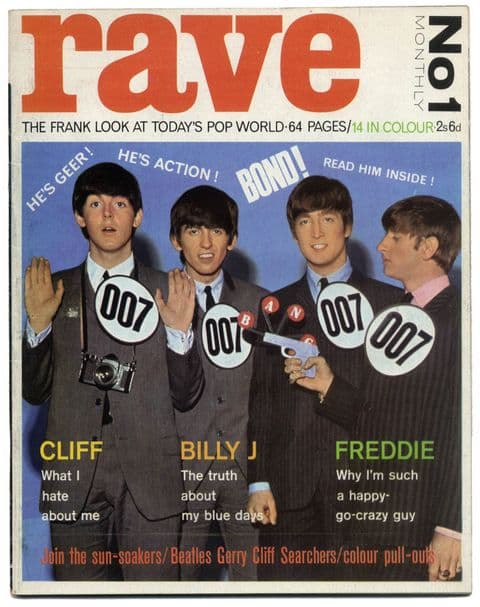 Rave Magazine No 1 February 1964 Beatles James Bond Billy Fury Cliff Crystals Adam Faith