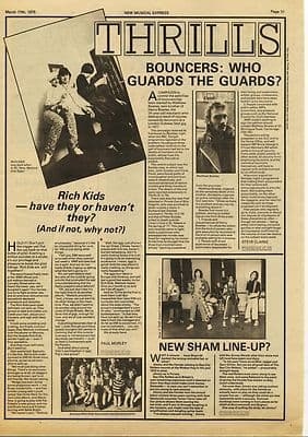 RICH KIDS Music Press article/cutting/clipping 1979