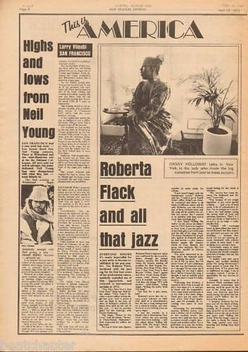 ROBERTA FLACK & all that jazz Music Press Article cutting/clipping 1973