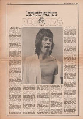 Rolling Stones Exile on main street review original Vintage Music Press article/Clipping 1972