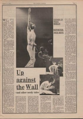 Rolling Stones In west Berlin 2 page original Vintage Music Press article 1973 Up against the wall