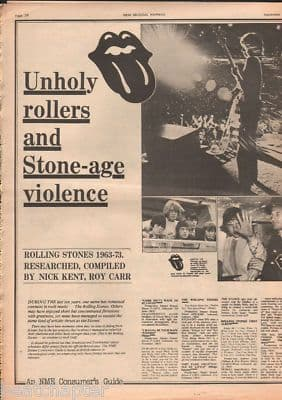 Rolling Stones Unholy Rollers 3 page original Vintage Music Press article 1973