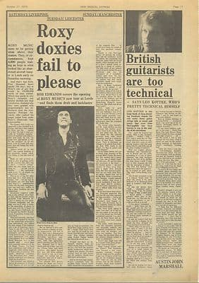 Roxy Music tour LEO KOTTKE Interview Music Press article/cutting/clipping 1973