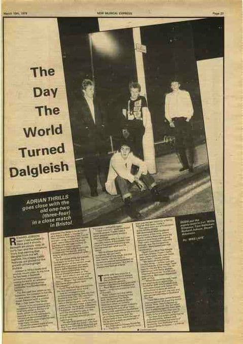 SKIDS World turned Dalgleish 1.5p interview press cutting/clipping 1979