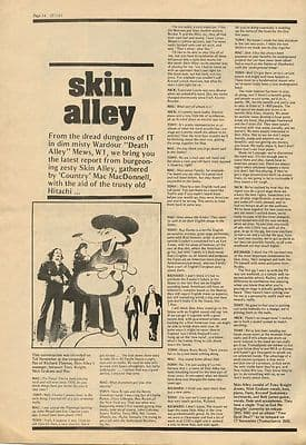 SKIN ALLEY Interview full page press article/cutting/clipping 1972