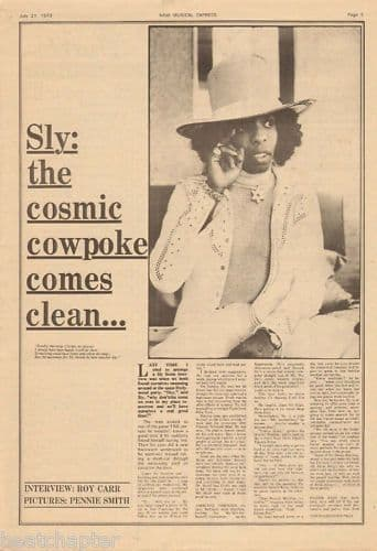 SLY STONE Cosmic Cowpoke... Music Press Article cutting/clipping 1973