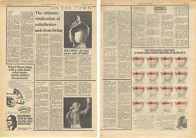 Sparks David Bowie Live review Vintage Music Press article/cutting/clipping 1974