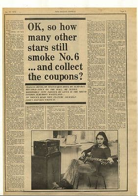 Status Quo Interview with Francis Rossi Vintage Music Press Review Article 1974