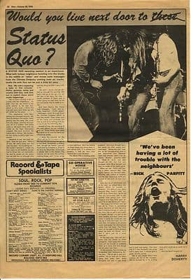 Status Quo Rick Parfitt Interview Vintage Music Press article/clipping 1974