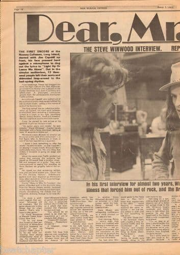 STEVE WINWOOD 2+ Page Interview Music Press Article cutting/clipping 1973