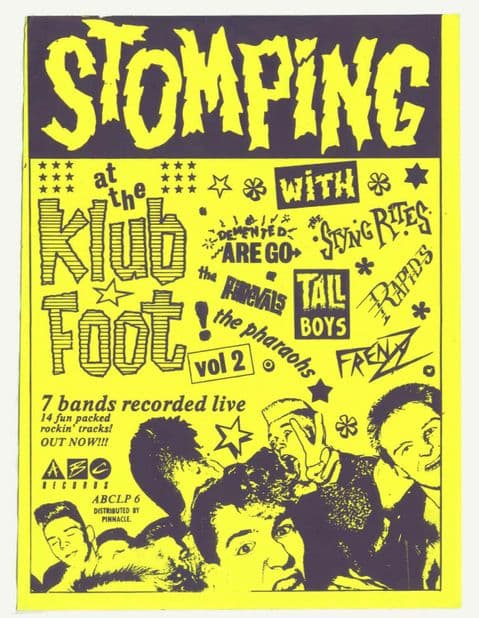 Stomping at the Klub Foot promo poster Psychobilly comp Tall Boys Frenzy Rapids Demented are Go