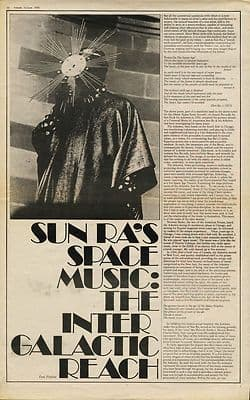 SUN RA Space Music The Intergalactic reach 2 page article/cutting/clipping 1970