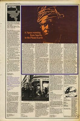 SUN RA Space warning to Planet Earth press article/cutting/clipping 1971