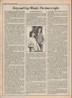 TERRY & GAY WOODS 1976 Interview original Vintage Music Press article Time is right
