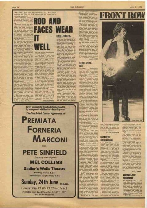 The Faces NAZARETH Sweet KEVIN AYERS live reviews article cutting/clipping 1973