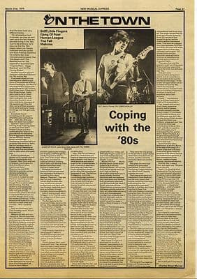 The Fall MEKONS STIFF LITTLE FINGERS Press article/cutting/clipping 1979