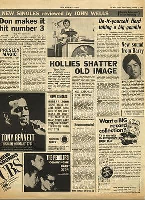 The Hollies HERD Don Partridge Vintage Music Press article/cutting/clipping 1968