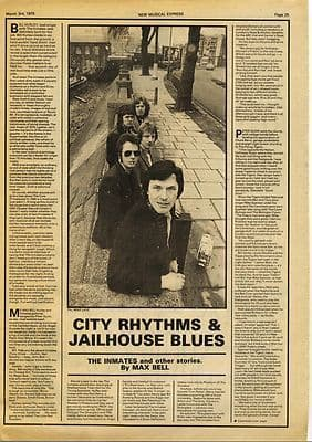The Inmates 1 page Interview Press article/cutting/clipping 1979