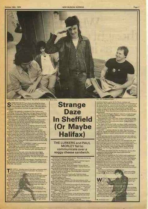 THE LURKERS Strange Daze/Interview press article cutting/clipping 1978