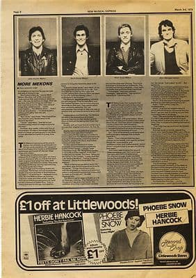 THE MEKONS 1 page Music Press article/cutting/clipping 1979