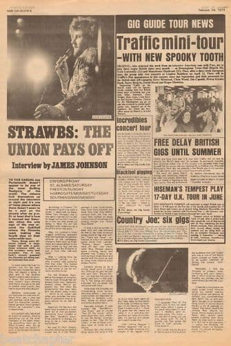 The Strawbs Union pays off Music Press Article cutting/clipping 1973
