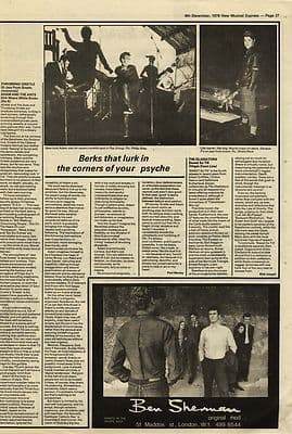 Throbbing Gristle 20 Jazz funk greats Review Press article/cutting/clipping 1979