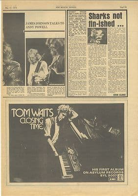 TOM WAITS Closing Time Vintage Music Press advert clipping 1973