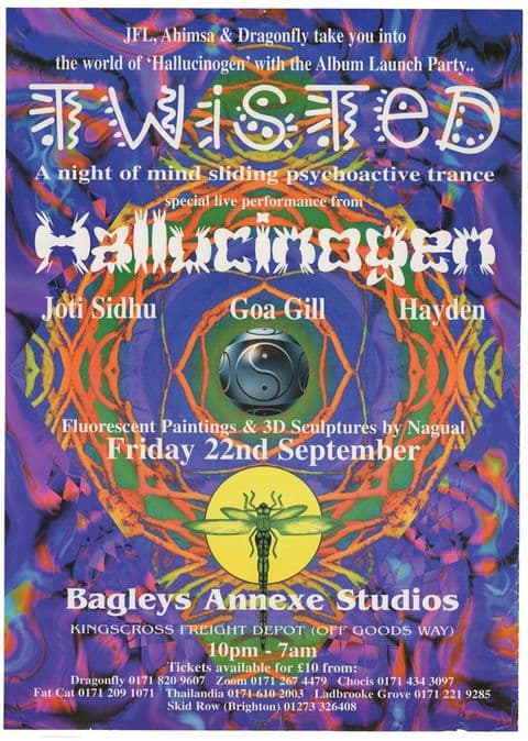 Twisted Records Hallucinogen/Simon Postford of Shpongle 1995 Psychedelic Goa Trance Party