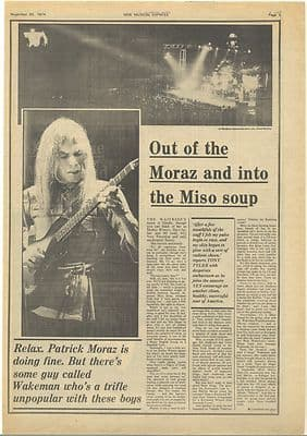Yes On tour Vintage Music Press article/cutting/clipping 1974
