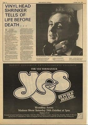 Yes Wembley Arena Totmatour Tour advert press cutting/clipping 1978