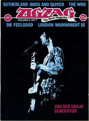 Zigzag Magazine No 57 December 1975 Dr Feelgood The Who Van Der Graaf Generator Loudon Wainwright