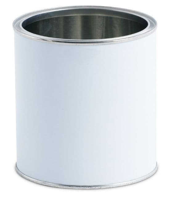 1 Litre White Lever Lid Tin Container