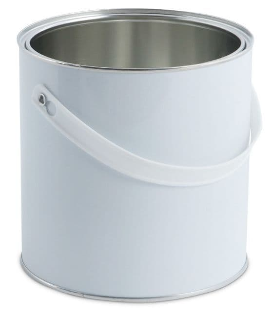 2.5 Litre White Lever Lid Tin Container