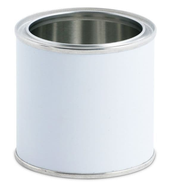 250ml White Lever Lid Tin Container