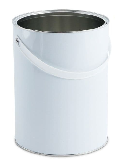 5 Litre White Lever Lid Tin Container