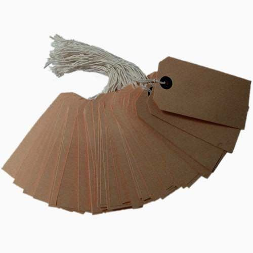 """Brown Pre Strung Pricing Tags 96mm x 48mm (approx 3.75 x 1.9"""") - Box of 1000"""