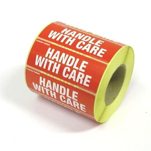 Medium Self Adhesive Handle With Care Labels - 1 Roll (1000 labels)
