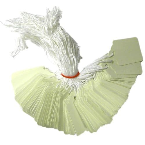 """White Pre Strung Pricing Tags 48mm x 30mm (approx 1.75"""" x 1.25"""") - Box of 1000"""