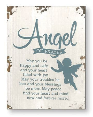 Angel Of Prayer Distressed Wood Plaque