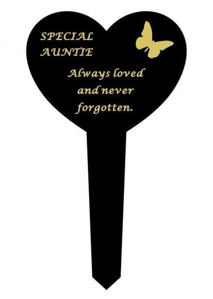 Auntie Black Slim Plastic Heart Memorial Stake