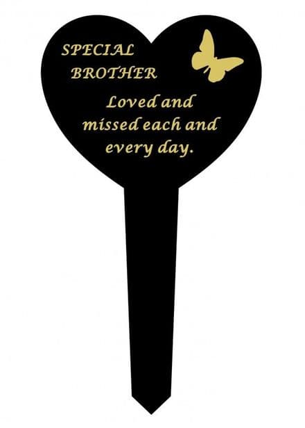 Brother Black Slim Plastic Heart  Memorial Stake