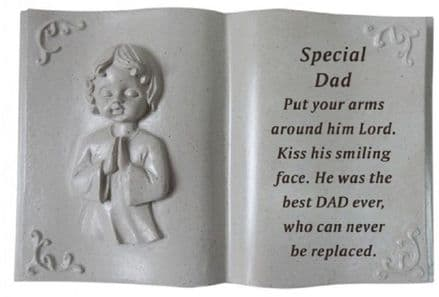 Dad Cherub Memorial Book Plaque Ornament