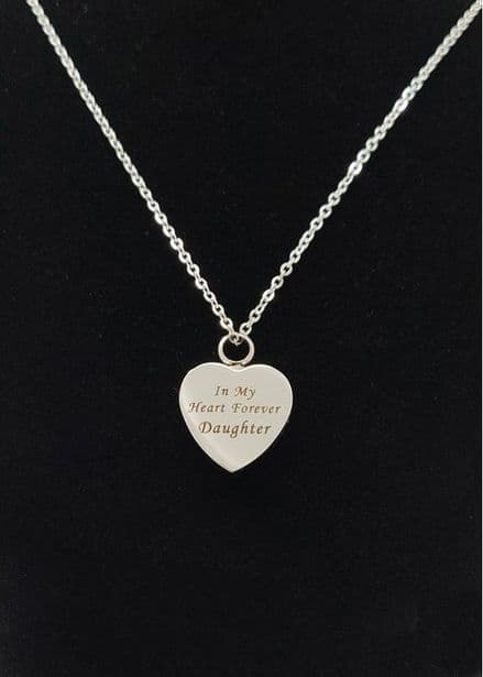 Daughter Heart Cremation Ashes Necklace