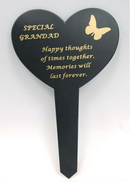 Grandad  Black Slim Plastic Heart Memorial Stake