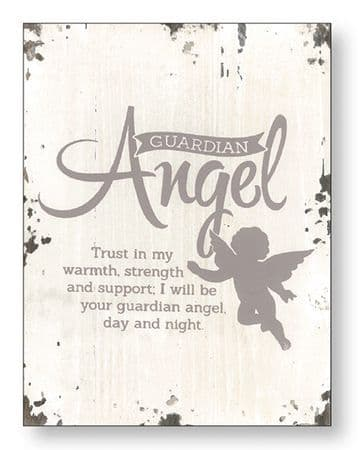 Guardian Angel Distressed Wood Plaque