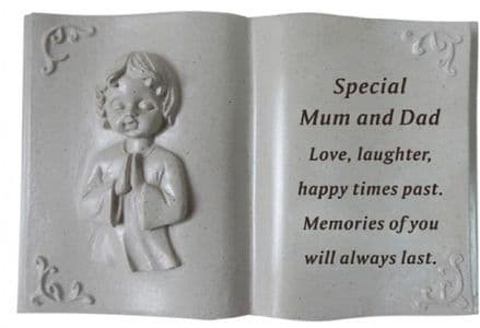 Mum and Dad Cherub Memorial Book Plaque