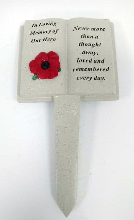Our Hero Poppy Open Book Grave Marker