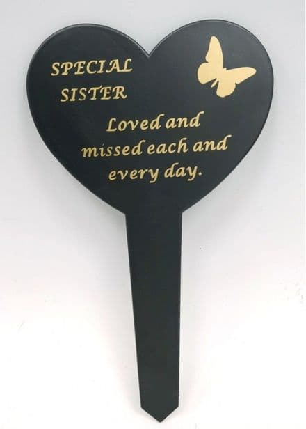 Sister  Black Slim Plastic Heart  Memorial Stake