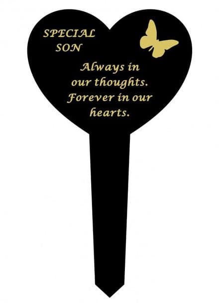 Son Black Slim Plastic Heart  Memorial Stake